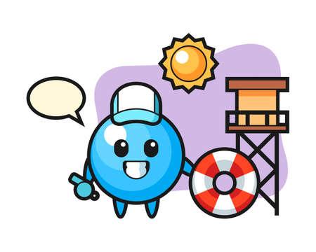 Gum ball cartoon as a beach guard, cute style mascot character for t shirt, sticker design, logo element