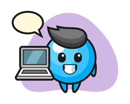 Gum ball cartoon with a laptop, cute style mascot character for t shirt, sticker design, logo element