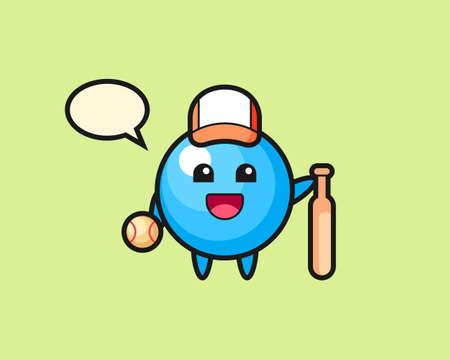 Gum ball cartoon as a baseball player, cute style mascot character for t shirt, sticker design, logo element  イラスト・ベクター素材