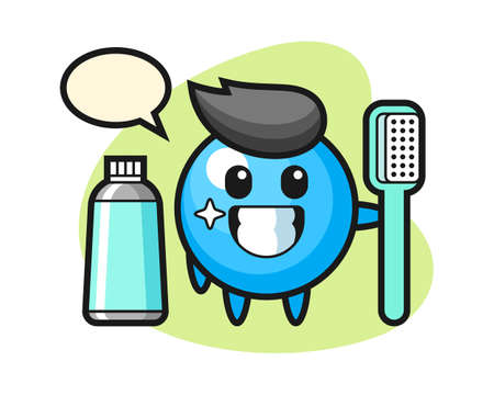 Gum ball cartoon with a toothbrush, cute style mascot character for t shirt, sticker design, logo element