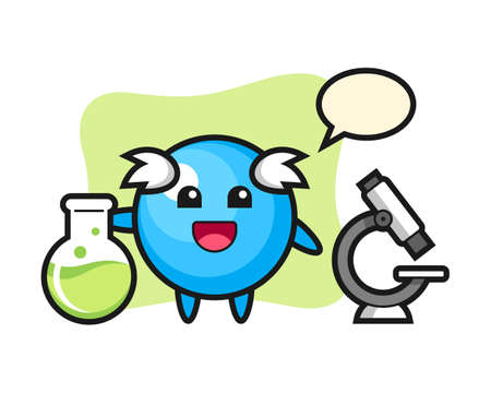Gum ball cartoon as a scientist, cute style mascot character for t shirt, sticker design, logo element  イラスト・ベクター素材