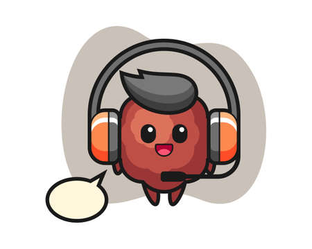 Meatball cartoon as a customer service, cute style mascot character for t shirt, sticker design, logo element