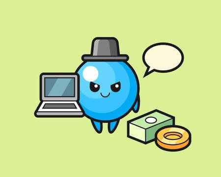 Gum ball cartoon as a hacker, cute style mascot character for t shirt, sticker design, logo element