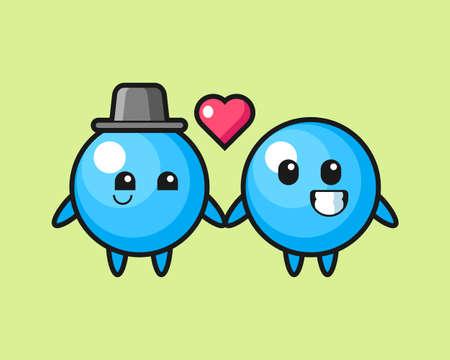 Gum ball couple cartoon fall in love, cute style mascot character for t shirt, sticker design, logo element