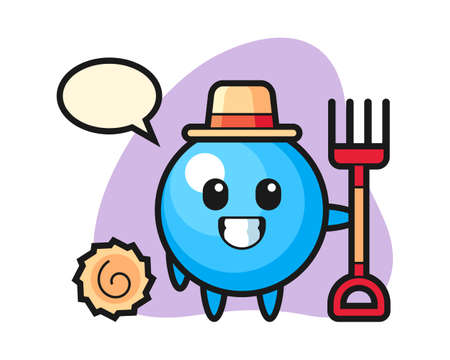 Gum ball cartoon as a farmer, cute style mascot character for t shirt, sticker design, logo element