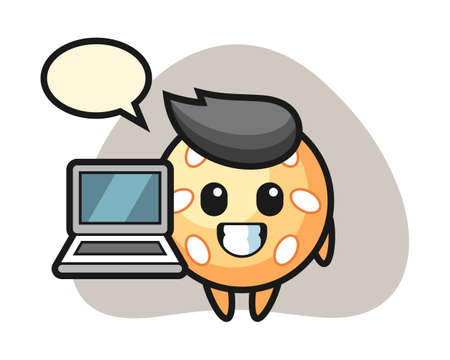 Sesame ball cartoon with a laptop, cute style mascot character for t shirt, sticker design, logo element