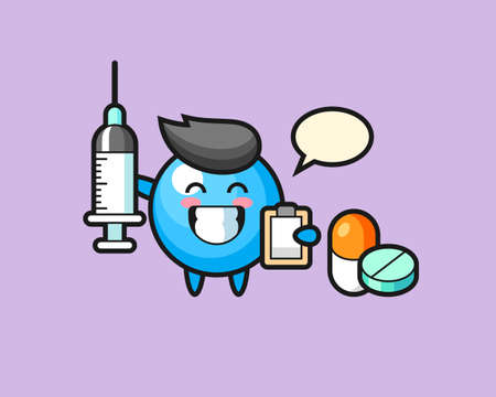 Gum ball cartoon as a doctor, cute style mascot character for t shirt, sticker design, logo element