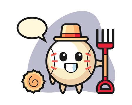 Baseball cartoon as a farmer, cute style mascot character for t shirt, sticker design, logo element