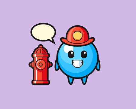 Gum ball cartoon as a firefighter, cute style mascot character for t shirt, sticker design, logo element