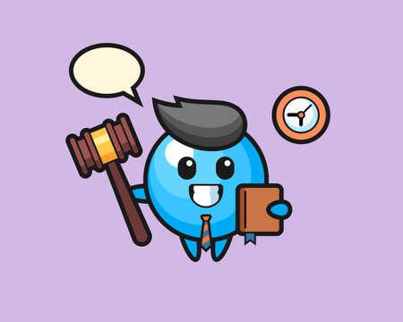 Gum ball cartoon as a judge, cute style mascot character for t shirt, sticker design, logo element