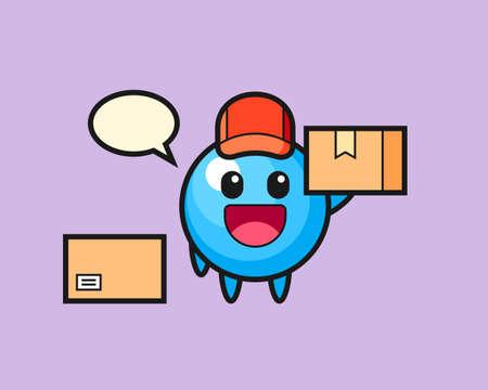 Gum ball cartoon as a courier, cute style mascot character for t shirt, sticker design, logo element  イラスト・ベクター素材