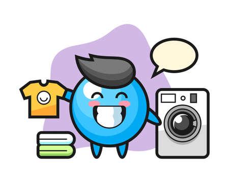Gum ball cartoon with washing machine, cute style mascot character for t shirt, sticker design, logo element