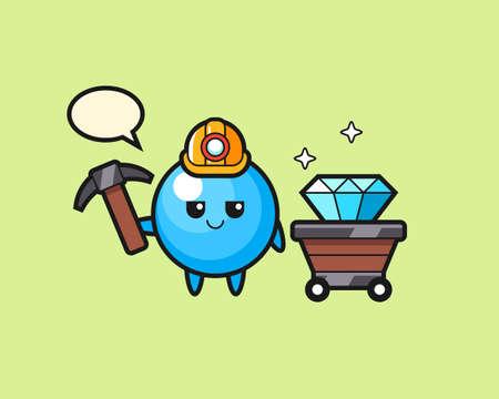 Gum ball cartoon as a miner, cute style mascot character for t shirt, sticker design, logo element