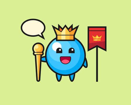 Gum ball cartoon as a king, cute style mascot character for t shirt, sticker design, logo element  イラスト・ベクター素材