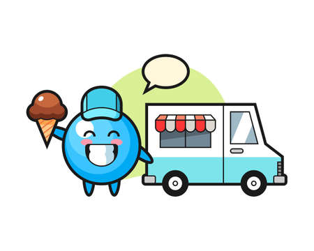 Gum ball cartoon with ice cream truck, cute style mascot character for t shirt, sticker design, logo element  イラスト・ベクター素材