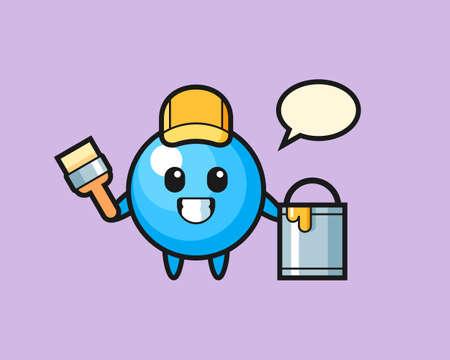 Gum ball cartoon as a painter, cute style mascot character for t shirt, sticker design, logo element  イラスト・ベクター素材