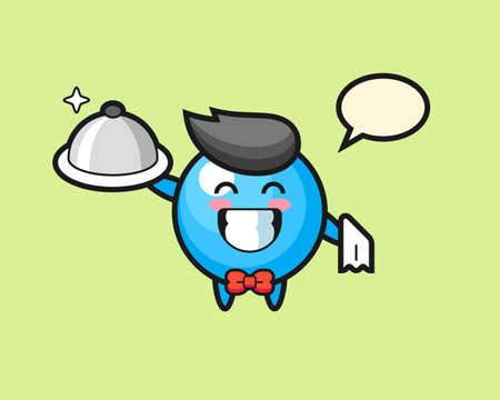 Gum ball cartoon as a waiters, cute style mascot character for t shirt, sticker design, logo element