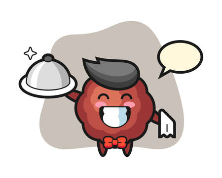Meatball cartoon as a waiters, cute style mascot character for t shirt, sticker design, logo element