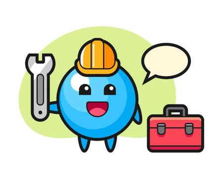 Cgum ball artoon as a mechanic, cute style mascot character for t shirt, sticker design, logo element