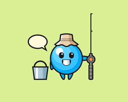 Gum ball cartoon as a fisherman, cute style mascot character for t shirt, sticker design, logo element
