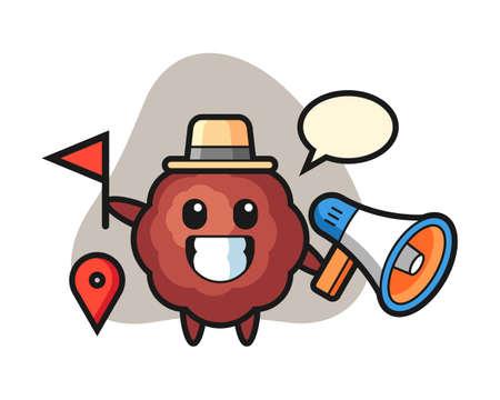 Meatball cartoon as a tour guide, cute style mascot character for t shirt, sticker design, logo element