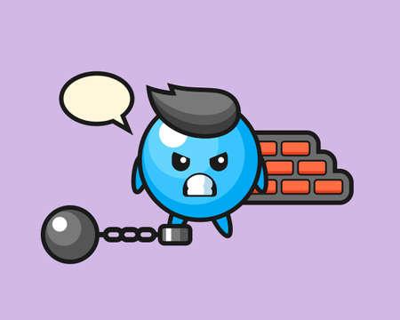Gum ball cartoon as a prisoner, cute style mascot character for t shirt, sticker design, logo element