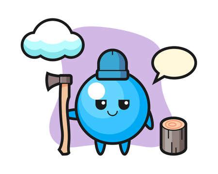 Gum ball cartoon as a woodcutter, cute style mascot character for t shirt, sticker design, logo element