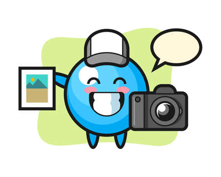 Gum ball cartoon as a photographer, cute style mascot character for t shirt, sticker design, logo element  イラスト・ベクター素材