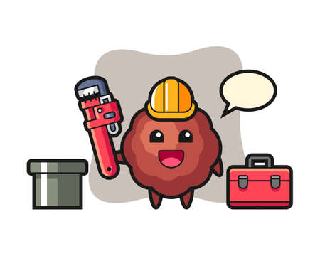 Meatball cartoon as a plumber, cute style mascot character for t shirt, sticker design, logo element