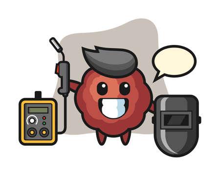 Meatball cartoon as a welder, cute style mascot character for t shirt, sticker design, logo element