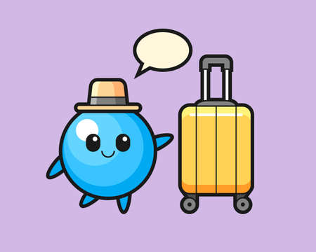 Gum ball cartoon with luggage on vacation, cute style mascot character for t shirt, sticker design, logo element
