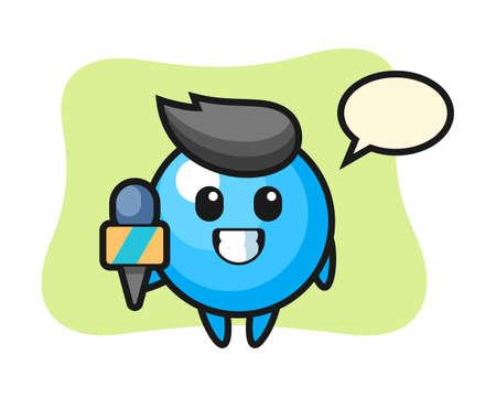 Gum ball cartoon as a news reporter, cute style mascot character for t shirt, sticker design, logo element