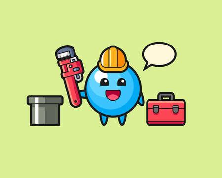 Gum ball cartoon as a plumber, cute style mascot character for t shirt, sticker design, logo element