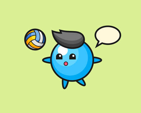 Gum ball cartoon is playing volleyball, cute style mascot character for t shirt, sticker design, logo element