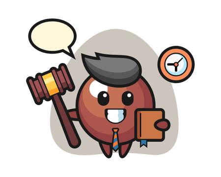 Chocolate ball cartoon as a judge, cute style mascot character for t shirt, sticker design, logo element