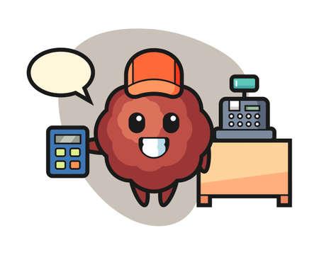 Meatball cartoon as a cashier, cute style mascot character for t shirt, sticker design, logo element