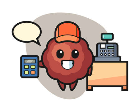 Meatball cartoon as a cashier, cute style mascot character for t shirt, sticker design, logo element Иллюстрация