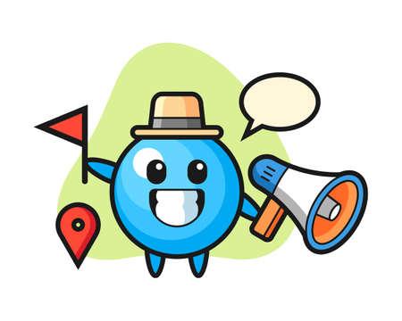 Gum ball cartoon as a tour guide, cute style mascot character for t shirt, sticker design, logo element