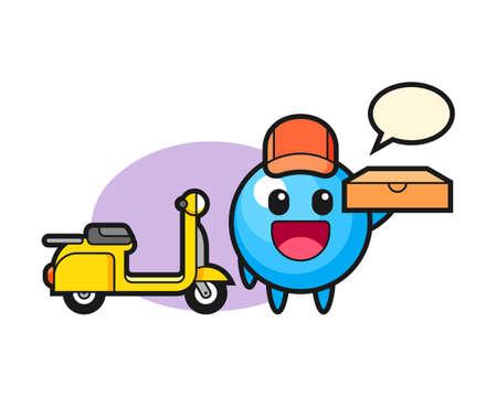 Gum ball cartoon as a pizza deliveryman, cute style mascot character for t shirt, sticker design, logo element