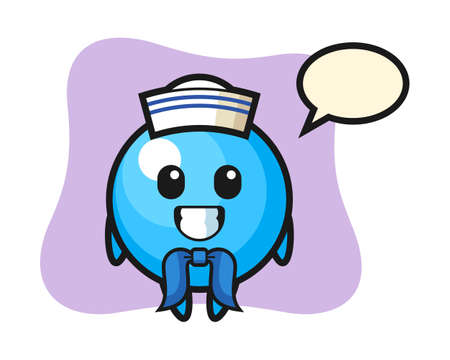 Gum ball cartoon as a sailor man, cute style mascot character for t shirt, sticker design, logo element