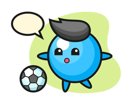 Gum ball cartoon is playing soccer, cute style mascot character for t shirt, sticker design, logo element