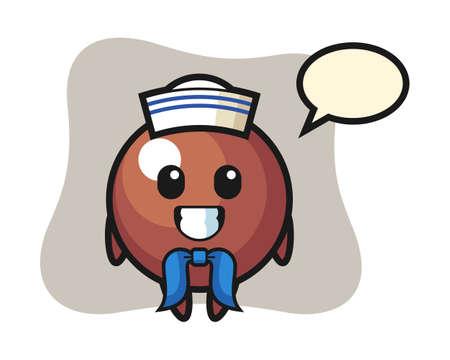 Chocolate ball cartoon as a sailor man, cute style mascot character for t shirt, sticker design, logo element