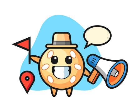 Sesame ball cartoon as a tour guide, cute style mascot character for t shirt, sticker design, logo element 일러스트