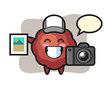 Meatball cartoon as a photographer, cute style mascot character for t shirt, sticker design, logo element