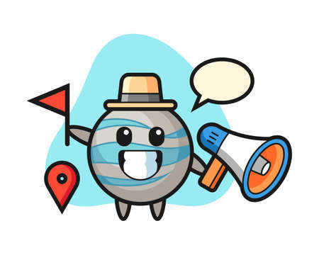 Planet cartoon as a tour guide, cute style mascot character for t shirt, sticker design, logo element