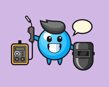 Gum ball cartoon as a welder, cute style mascot character for t shirt, sticker design, logo element