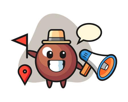 Chocolate ball cartoon as a tour guide, cute style mascot character for t shirt, sticker design, logo element Logó