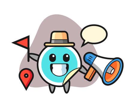Sticker cartoon as a tour guide, cute style mascot character for t shirt, sticker design, logo element