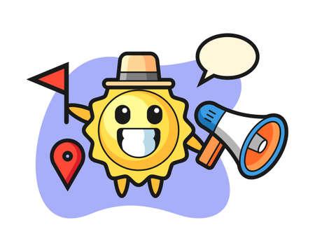 Sun cartoon as a tour guide, cute style mascot character for t shirt, sticker design, logo element
