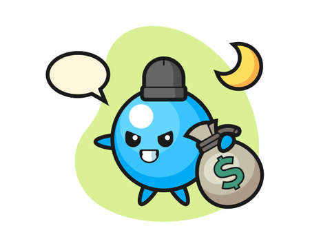Gum ball cartoon stolen the money, cute style mascot character for t shirt, sticker design, logo element